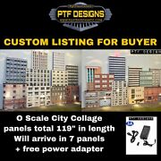 """Custom Listing O Scale Built Up -city Building Collage Flats 119"""" Backdrop"""