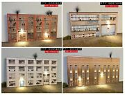 Ho Scale Industrial 's 1,2,3,4 Building Flats Lot, 3d Background W/led, Factory