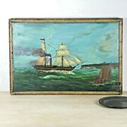 19th C. Naive, Folk Art Painting Of A Paddle Steamer, In Full Sail And Steam