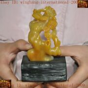 Chinese Natural Tianghuang Shoushan Stone Hand-carved Animal Flower Bird Statue