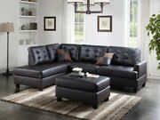 Casual Modern Tufted Sofa Chaise Ottoman Sectional 3pc Set Espresso Faux Leather