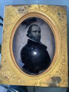 1864 Civil War Full Plate Ambrotype Of Captain With Original Wooden Frame 8.5andrdquo
