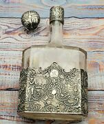 Sterling Silver And Glass Liquor Bottle Whimsical Figures Holland Windmills