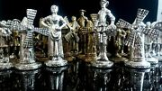 Vtg Don Quixote Artisan Chess Set Luxury Pieces Bathed In Silver And Bronze 60s