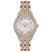Bulova Womenand039s Crystal Collection Quartz Rose-gold 33mm Watch 98n113