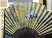 Chinese Fan 30x52 Painted Cranes Signed Fabric Paper Bamboo Vintage Antique