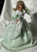 Vintage Perfectly Hand Crochet Green Doll Dress Set And 1979 Barbie Doll, Ooak