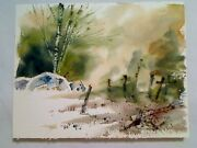 Thomas Tindira Watercolor Clearing In Wooded Area Boulders Barbed Wire Fence