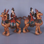 13.8 China Antique Porcelain Tang Dynasty Cloisonne A Pair Kylin People Statue