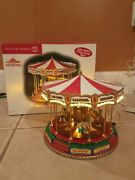 Red Ruby Carousel 2004 Dept 56 Carnival Series Works W Box Lights Rotates Music