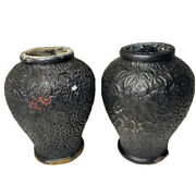 Set Of Small Black Japanese Chalkware Vase With Red Accents