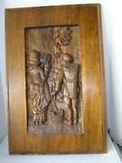 Early Italian Wood Carving Relief Of Peasants On Panel 19th Century Gothic 19x30
