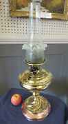 Victorian Brass And Copper Oil Lamp Vaseline Glass Shade Duplex Double Burner