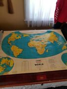 Vintage Cramand039s Beginnerand039s Map Of The World School Pull Down Map