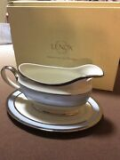 Lenox Blue Frost Gravy/sauce Boat.with Stand Store Display