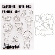 Family Mom Dad Kids Metal Cutting Dies And Stamp Mold Scrapbook Paper Card