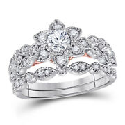 14kt Two-tone Gold Round Diamond Flower Bridal Ring Band Set 3/4 Ctw Certified