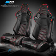 Adjustable Universal Racing Seat Red Stitch Pu Carbon Leather Pairand2 Dual Slider