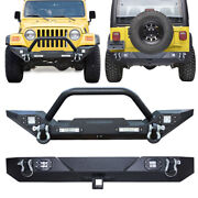 Vijay Front Rear Bumper With Winch Plate+6 Led Lights For 87-06 Tj Jeep Wrangler
