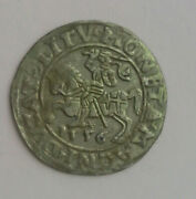 Origin Medieval Silver Coin Grand Duchy Of Lithuania Penny Knight Chase 1556
