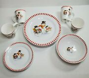 Trisa Stoneware Dinner Plates Mugs Bowls With Snowmen And Red Checkered Border