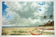 Hawaii Watercolor Painting The Squall And Beached Outrigger By By L. Segedin 124