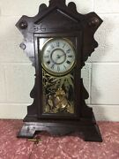 New Haven Clock Co. 8 Day Time And Strike Clock Oak Case With Original Finish