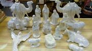 Vintage Holland Mold Ceramic Christmas Nativity Set 17 Pc White Mother Of Pearl