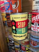 Rare Full Stop And Go Union's Supreme Motor Oil Can Us Quart Council Bluffs Iowa