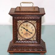 Junghans Alarm Mantel Clock Antique 1910s Large Bell Germany Carriage Restored