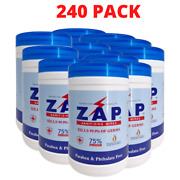 38400 Zap Sanitizing Wipes 75 Alcohol + Vitamin E 160 Wipes Per Pack - 240 Pac
