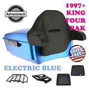 Electric Blue King Tour Pack Trunk Black Hinges And Latch Fit 1997-2020 Harley