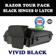 Vivid Black Razor Tour Pack Black Hinges Latch Fit 97-20 Harley Road Touring