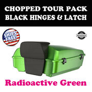 Radioactive Green Chopped Tour Pack Black Hinges Latch Fit 97-20 Harley Touring