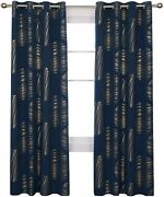 Deconovo Gold Foil Printed Blackout Curtains Thermal Insulated Grommet Partterne