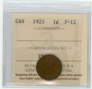 1925 Canada Small One Cent - Iccs Vf-20 - Cert Xah 031