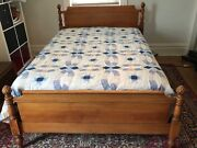 Antique Maple Double Bed Set With Bed Dresser Mirror And Desk C.1935andnbsp