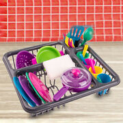 Set Of Pretend Kitchen Tableware Sink Dishes Playhouse Early Learning Toys Gifts