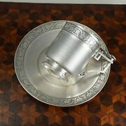 Antique French Sterling Silver Cup And Saucer Set Guilloche Engraving