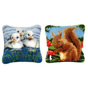 Lovely Squirrel Duck - Latch Hook Pillow Kit For Beginners Diy Home Ornament
