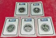 2010 5 Oz Us Mint .999 Silver America Beautiful Complete Set Ms69 Early Release