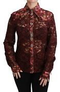 Dolce And Gabbana Blouse Shirt Bordeaux Lace Floral Crystal It38/us4 /xs Rrp 1900