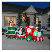 Christmas Home Accents Holiday 11 Ft Lighted Santa Train Scene Inflatable Nib