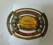 Vtg Victorian Gold Tone Pin Broach Amber Faceted Glass Enamel Rhinestones 1 1/2