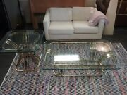 Milo Baughman Style Brass Glass End And Coffee Table Set Mid Century Modern