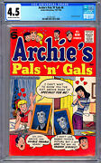 Archie's Pals 'n' Gals 6 Cgc 4.5 Htf Classic Early Elvis Presley Spoof 1957