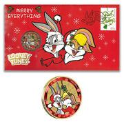 Australia 2018 Looney Tunes Bugs Bunny Merry Christmas Stamp And 1 Coin Cover-pnc