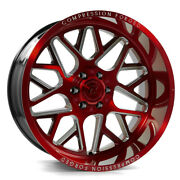 24 Inch 24x12 Axe Forged Ax5.2 Candy Red Wheels Rims 8x6.5 8x165.1 -44