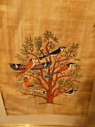 Antique Folk Art Painted Papyrus Or Linen Fabric Birds In Tree Framed