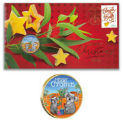 Australia 2018 Merry Christmas Koala Stamp And 1 Coloured Unc Coin Cover - Pnc